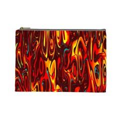 Effect Pattern Brush Red Orange Cosmetic Bag (Large)