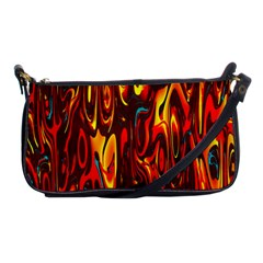 Effect Pattern Brush Red Orange Shoulder Clutch Bags