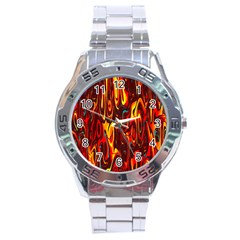 Effect Pattern Brush Red Orange Stainless Steel Analogue Watch