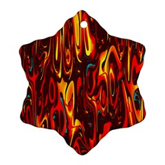 Effect Pattern Brush Red Orange Snowflake Ornament (Two Sides)