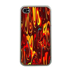 Effect Pattern Brush Red Orange Apple Iphone 4 Case (clear)