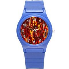 Effect Pattern Brush Red Orange Round Plastic Sport Watch (s)