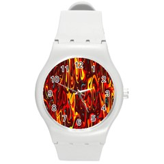 Effect Pattern Brush Red Orange Round Plastic Sport Watch (M)