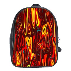 Effect Pattern Brush Red Orange School Bags (XL)