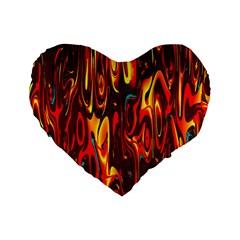 Effect Pattern Brush Red Orange Standard 16  Premium Heart Shape Cushions