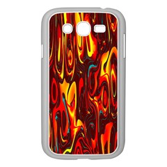 Effect Pattern Brush Red Orange Samsung Galaxy Grand DUOS I9082 Case (White)