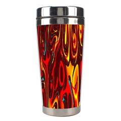 Effect Pattern Brush Red Orange Stainless Steel Travel Tumblers