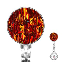 Effect Pattern Brush Red Orange Stainless Steel Nurses Watch