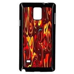 Effect Pattern Brush Red Orange Samsung Galaxy Note 4 Case (Black)