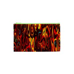 Effect Pattern Brush Red Orange Cosmetic Bag (XS)