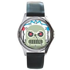 Robot Round Metal Watch