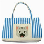 Cat Smile Striped Blue Tote Bag Front