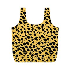 Skin Animals Cheetah Dalmation Black Yellow Full Print Recycle Bags (M)