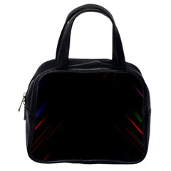 Streaks Line Light Neon Space Rainbow Color Black Classic Handbags (one Side)
