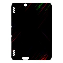 Streaks Line Light Neon Space Rainbow Color Black Kindle Fire HDX Hardshell Case