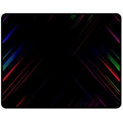Streaks Line Light Neon Space Rainbow Color Black Double Sided Fleece Blanket (medium)