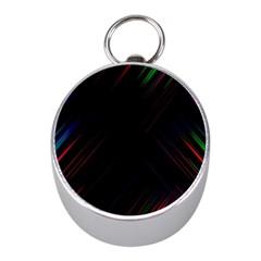Streaks Line Light Neon Space Rainbow Color Black Mini Silver Compasses
