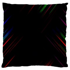 Streaks Line Light Neon Space Rainbow Color Black Standard Flano Cushion Case (Two Sides)