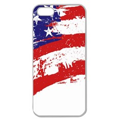 Red White Blue Star Flag Apple Seamless iPhone 5 Case (Clear)