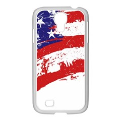 Red White Blue Star Flag Samsung GALAXY S4 I9500/ I9505 Case (White)