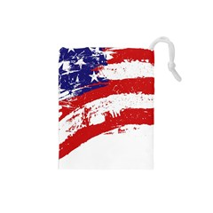 Red White Blue Star Flag Drawstring Pouches (Small)