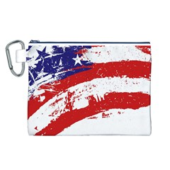 Red White Blue Star Flag Canvas Cosmetic Bag (L)