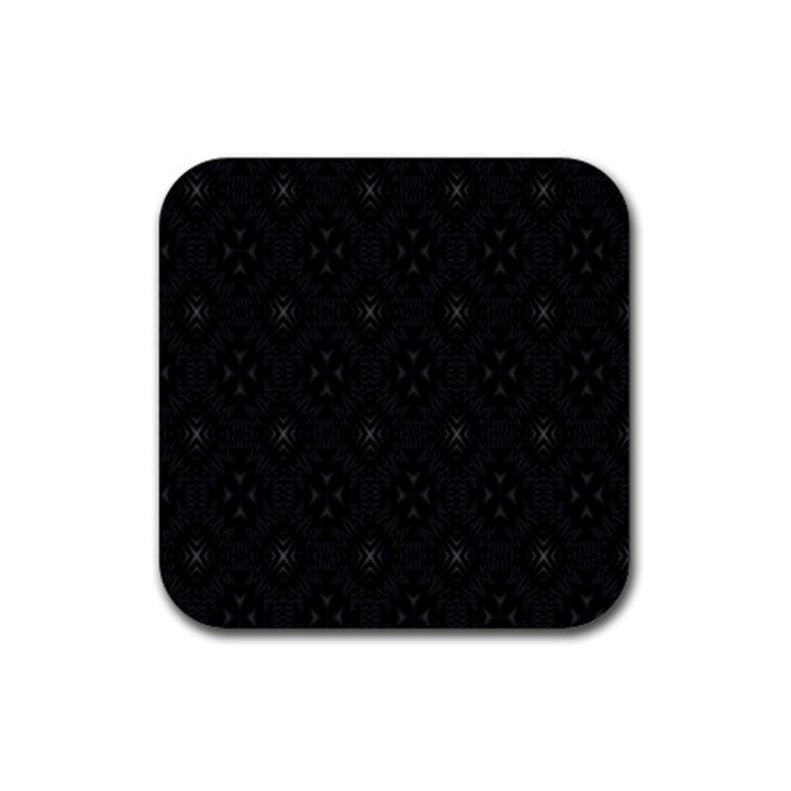 Star Black Rubber Square Coaster (4 pack)