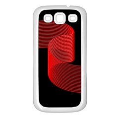 Tape Strip Red Black Amoled Wave Waves Chevron Samsung Galaxy S3 Back Case (white)