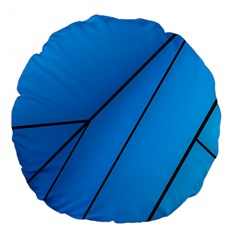 Technical Line Blue Black Large 18  Premium Flano Round Cushions