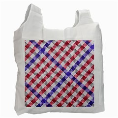 Webbing Wicker Art Red Bluw White Recycle Bag (Two Side)