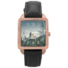 Fitz Roy Mountain, El Chalten Patagonia   Argentina Rose Gold Leather Watch