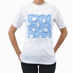 Vector Sheep Clouds Background Women s T Shirt (white) (two Sided)