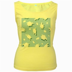 Vector Sheep Clouds Background Women s Yellow Tank Top