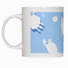 Vector Sheep Clouds Background White Mugs