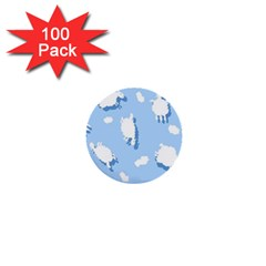 Vector Sheep Clouds Background 1  Mini Buttons (100 Pack)
