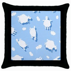 Vector Sheep Clouds Background Throw Pillow Case (Black)