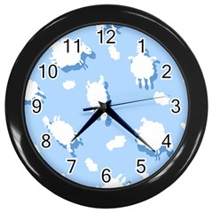Vector Sheep Clouds Background Wall Clocks (black)