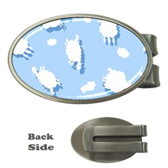 Vector Sheep Clouds Background Money Clips (oval)