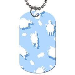 Vector Sheep Clouds Background Dog Tag (Two Sides)