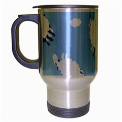 Vector Sheep Clouds Background Travel Mug (silver Gray)