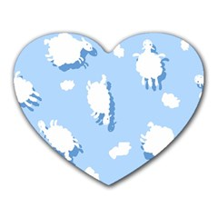 Vector Sheep Clouds Background Heart Mousepads