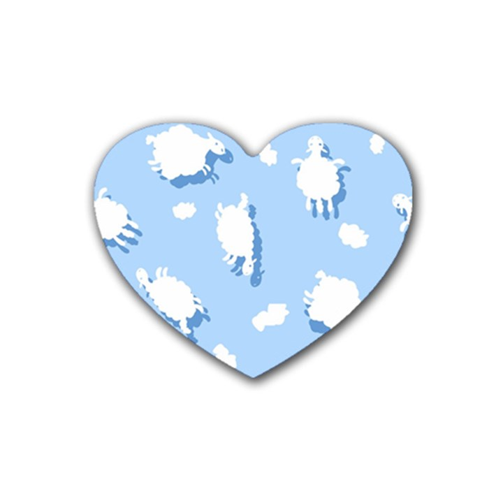 Vector Sheep Clouds Background Rubber Coaster (Heart)