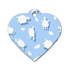 Vector Sheep Clouds Background Dog Tag Heart (one Side)