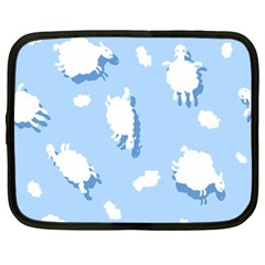 Vector Sheep Clouds Background Netbook Case (large)