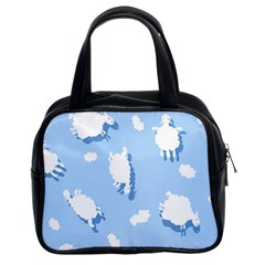 Vector Sheep Clouds Background Classic Handbags (2 Sides)