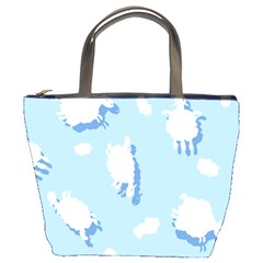 Vector Sheep Clouds Background Bucket Bags