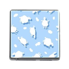 Vector Sheep Clouds Background Memory Card Reader (square)