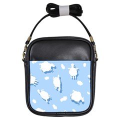 Vector Sheep Clouds Background Girls Sling Bags