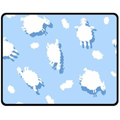 Vector Sheep Clouds Background Fleece Blanket (medium)
