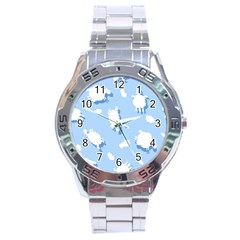 Vector Sheep Clouds Background Stainless Steel Analogue Watch